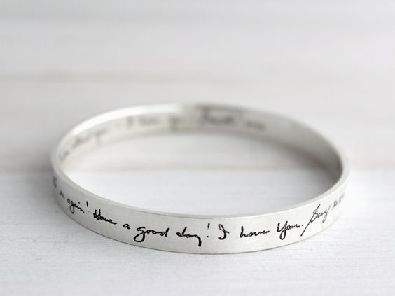 Handwritten Jumbo Bangle by ScriptedJewelry on Etsy