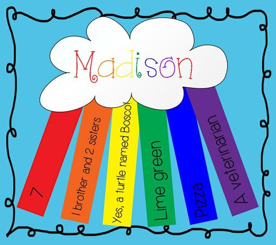 All About Me Rainbow - First Day of School Activity