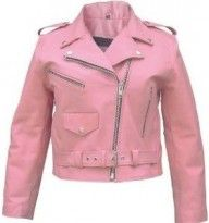Pink motorcycle leather jacket. Reminds me of in the movie &quotTeen