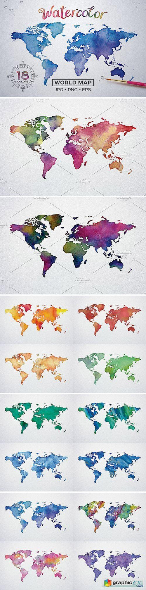 Watercolor world maps jpgepspng stock images web graphics theme watercolor world maps jpgepspng stock images gumiabroncs Choice Image