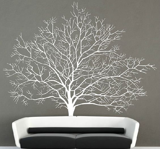 birch tree wall decal autumn tree with flying bird wall sticker wall mural branch wall decals. Black Bedroom Furniture Sets. Home Design Ideas