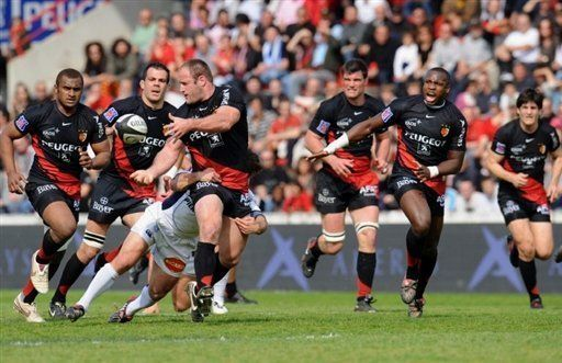 French rugby players of the Stade Toulousain team