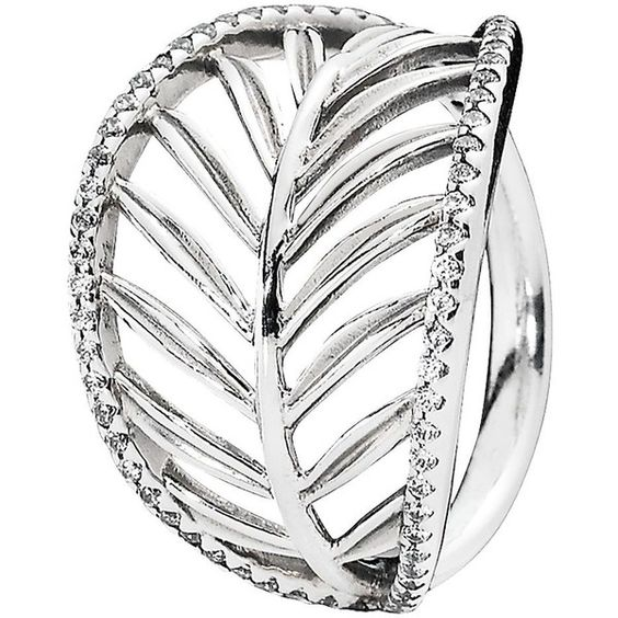PANDORA Ring - Sterling Silver & Cubic Zirconia Tropical Palm (£51) ❤ liked on Polyvore