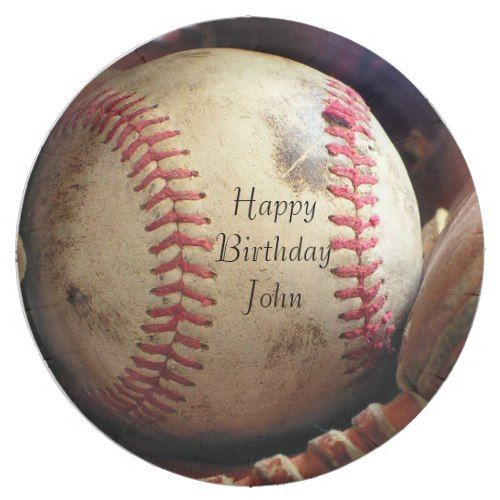 Rustic Baseball Happy Birthday Name Plates Zazzle Com With