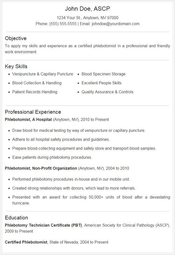 phlebotomy resume examples
