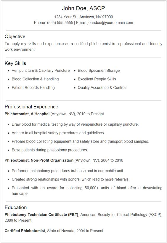 Phlebotomist Resume Sample Plus Downloadable Template - Stand Out