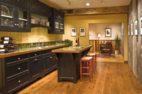 Comely traditional japanese kitchen design ideas with black wooden kitchen base cabinet and kitchen island