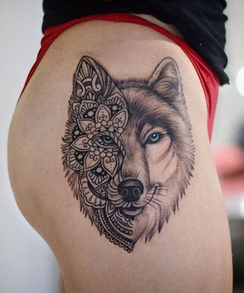 Mandala Wolf Tattoo Designs For Women I Like The Placement Wolf Tattoos For Women Lace Skull Tattoo Vintage Tattoo