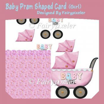 Baby Pram Shaped Card (Girl)