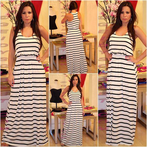 White and black stripe  maxi dress Shop online at www.geidyscloset@me.com Follow us on Instagram  Geidysclosetboutique