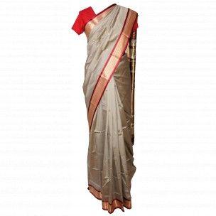 Tissu sari en soie beige et doré pas cher en vente sur http://www.merabarata.fr/saris-indiens-en-soie/808-tissu-sari-indien-en-soie.html