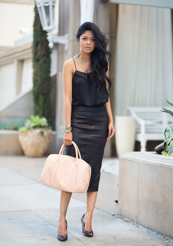 Silk pencil skirt black – Fashion clothes in USA photo blog