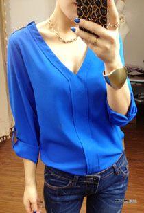 $15.56 long-sleeved V-neck shirt - http://zzkko.com/book/shopping?note=19131