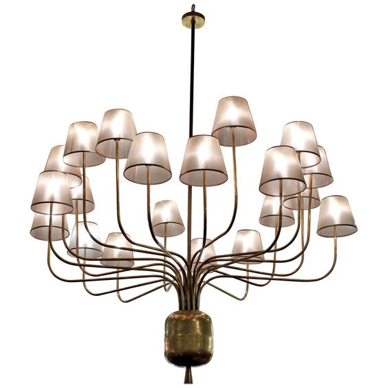 Monumental Chandelier in Brass in the Manner of Jean Royère