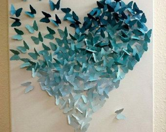 Ombre Butterfly Heart