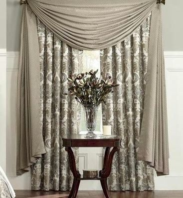 """Waterford Richmond Scarf Valance by Waterford. $59.99. An allover geometric diamond pattern in a lustrous beige hue with sage enhances this window valance for a traditional appeal. Coordinate with the Richmond bedding from Waterford. One Scarf Valance208"""" x 53""""100% PolyesterColor: Spruce (Beige/Sage)Dry Clean Only"""
