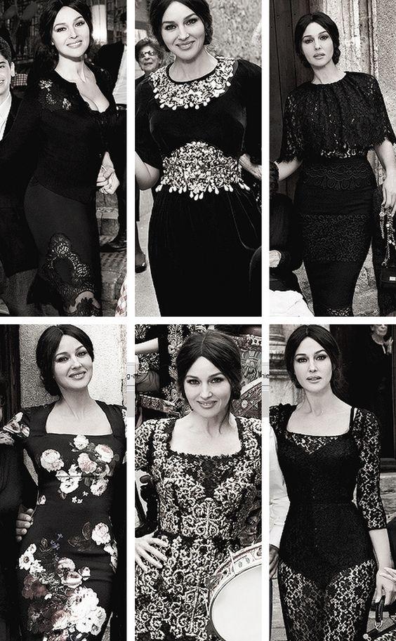 Monica Bellucci in black and gold
