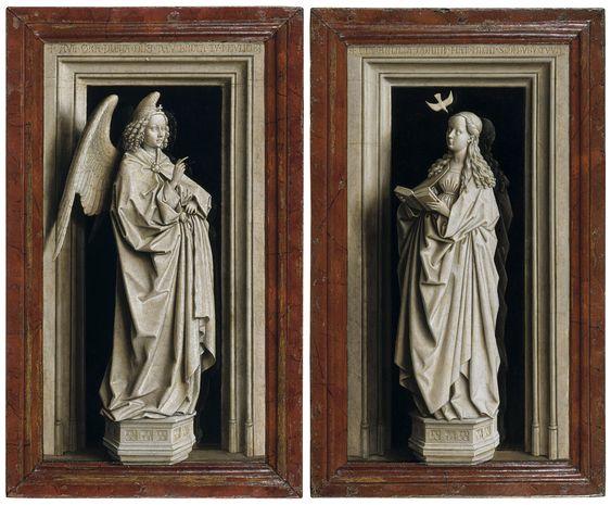 Jan van Eyck, Díptico de la Anunciación (ca. 1433-35, Museo Thyssen, Madrid)
