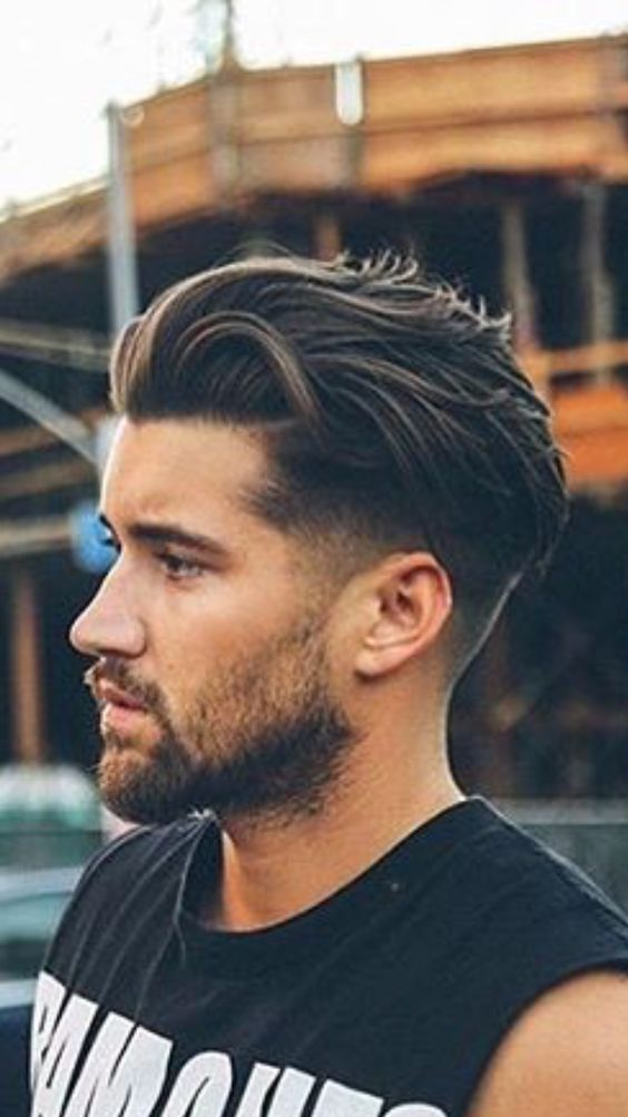 Quiff with Fringe and Mid Fade