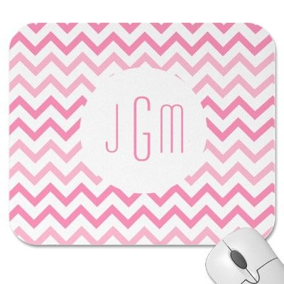 TwoTone Pink and Monogram Chevron Mouse Pads