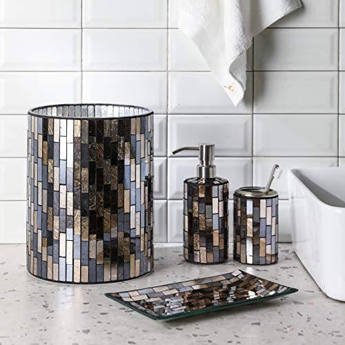 Black Gold Tile Mosaic Glass Bathroom, Glass Bathroom Trash Can