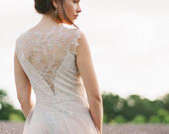 Blush Boho Lace Wedding Dress with Illusion Back Boho by ieie