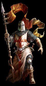 Mighty Templar kneeling before the battle with the captain flag in hand