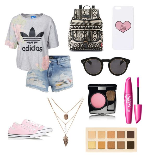 Pink by hellofashion22 on Polyvore featuring polyvore, fashion, style, adidas Originals, Converse, UNIONBAY, Topshop, Illesteva, LORAC and Chanel