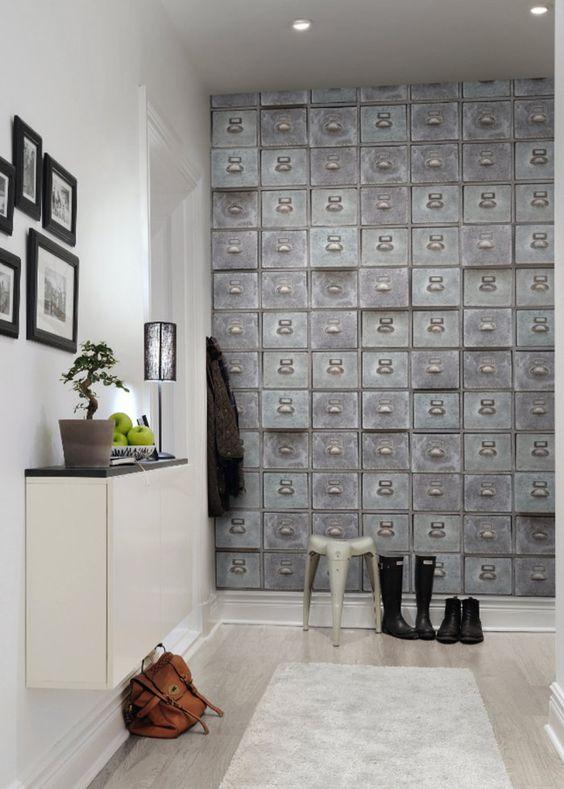 Inspiration papier peint trompe l 39 oeil ou effet mati re inspiration - Papier peint effet matiere ...