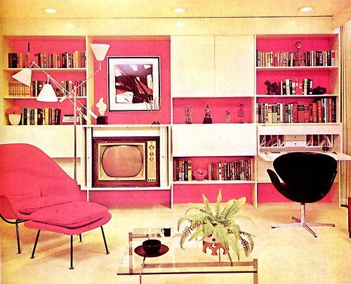 Vintage pink and black modern living room