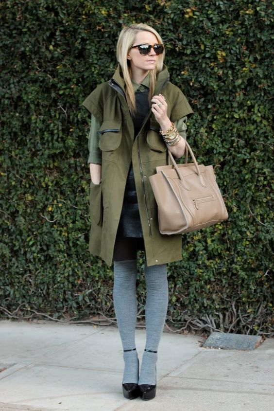 Army green with gray tights.