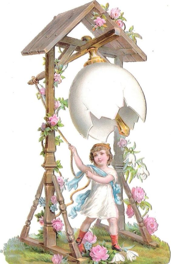 Oblaten Glanzbild scrap die cut chromo Oster glocke 15,5cm easter bell Kind girl: