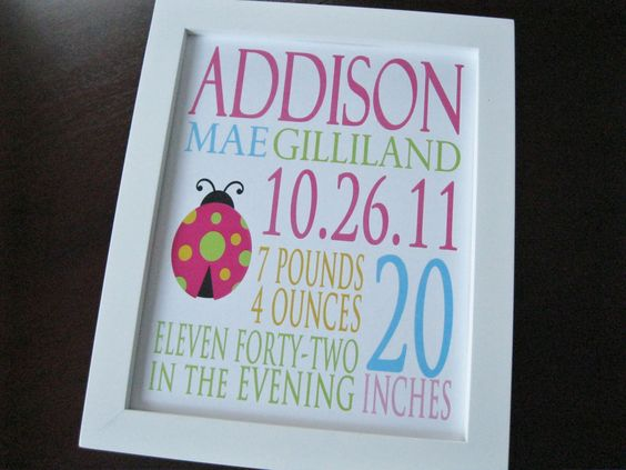 Custom Birth Print Announcement Baby Girl by invitemedesigns, $21.00