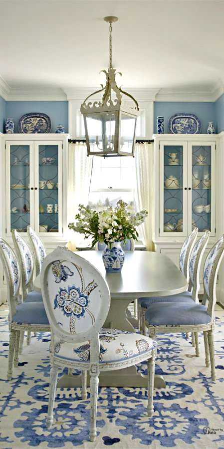 White and blue porcelain nature inspires hadley court for White dining room decor