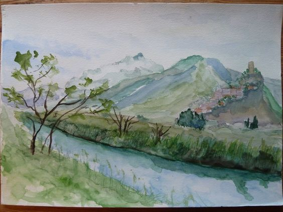 Watercolour by Bjarne Sorensen, Danish Pinner