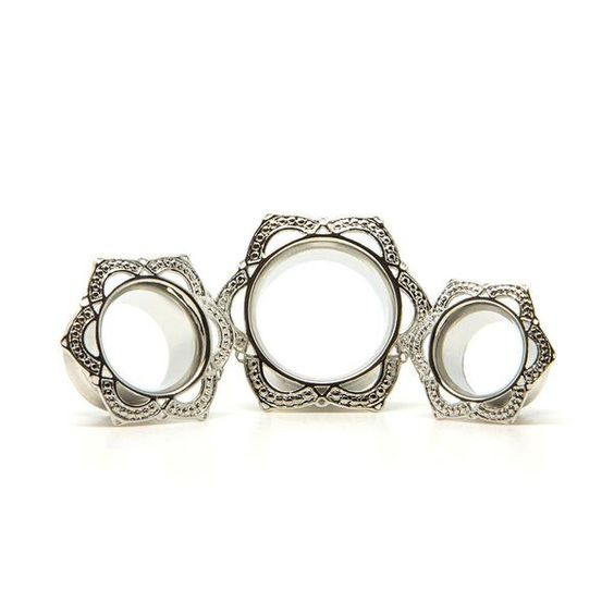 Silver Lotus Tunnel | UK Custom Plugs - Ear Gauges, Flesh Tunnels for Stretched Ears