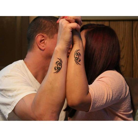 Our matching tattoo, since we are both born on the same month july we have the same #zodiacsign #cancersigntattoo #foreverlover #coupletattoo #cutetattoo #happywife