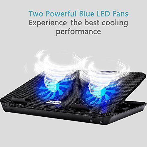 Laptop Cooling Pad Adjustable 2 Usb Powered Led Fans Ultra Slim 12