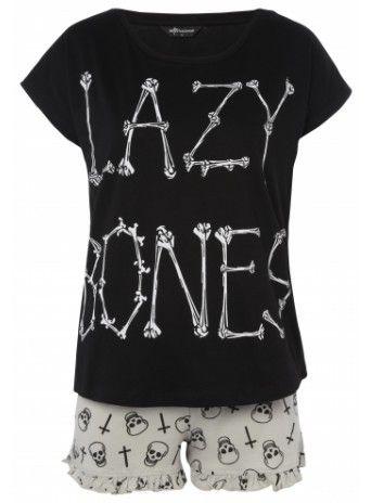 Black pj set with a lazy bones print.