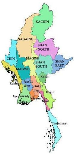 Administrative Map of Myanmar (Burma) - Nations Online Project