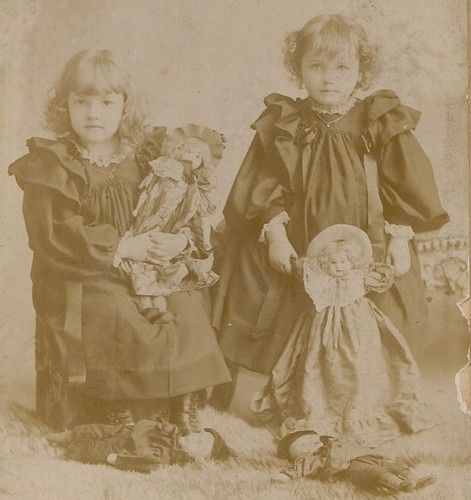 Little Sisters Dressed Alike w identical Fancy Dolls Topeka KS IDD Cabinet Photo | eBay