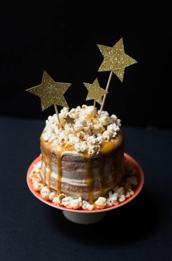 Gâteau vanille caramel et pop corn