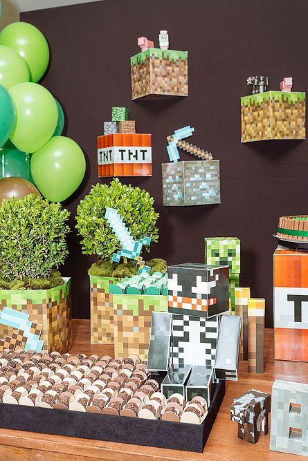 Festa Minecraft Minecraft party  www.bacurifestas.com.br: