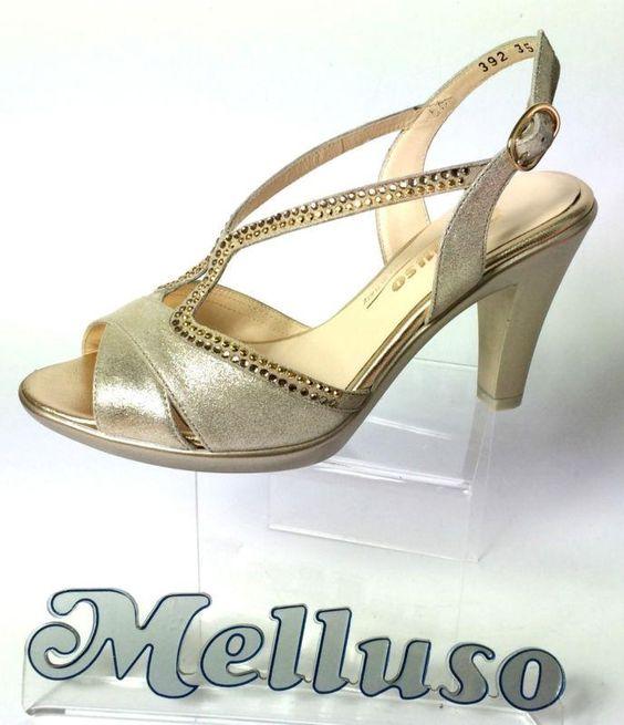 italia melluso scarpe donna sandali eleganti pelle colore platino strass 8 cm m italy 76 - Sandale Colore