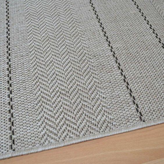 Patio Flatweave Rugs PAT03 Stripe Beige - Free UK Delivery - The Rug Seller