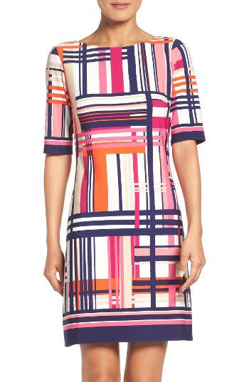 Eliza J Eliza J Print Jersey Elbow Sleeve Shift Dress (Regular & Petite) available at #Nordstrom