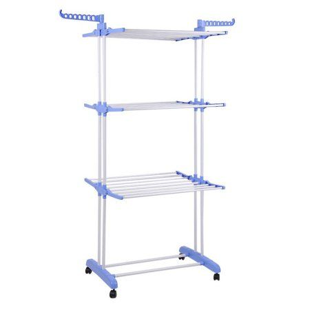 Portable Clothes Rail Multifunctional Storage Rack Folding Clothes