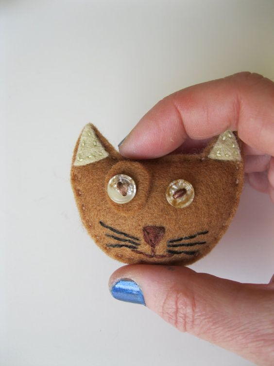 CAT  TAN  Felt Pin / Brooch Embroidered with Button Eyes by tekosi, £7.50