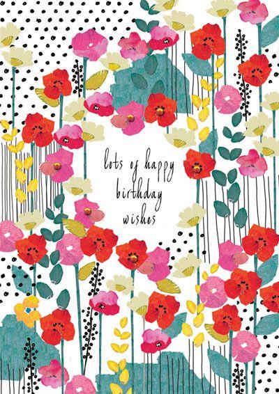 print & pattern, design, modern floral, type, lettering, greeting card, illustration, colour, spring summer, birthday, girl, mother, sister, friend