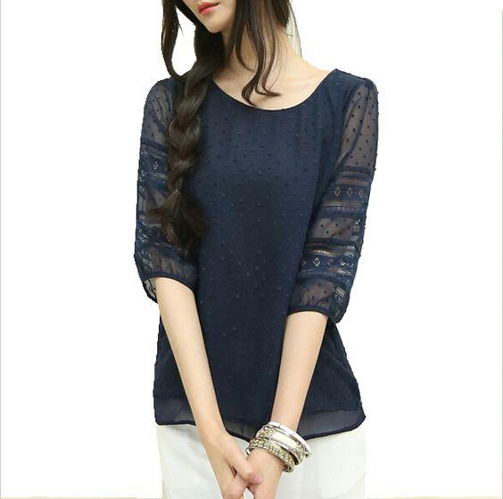 Coréia plus size sheer blusas blusas de manga curta chiffon grande tamanho mulheres roupas de verão das mulheres moda 2015 em Blusas de Roupas e Acessórios no AliExpress.com | Alibaba Group